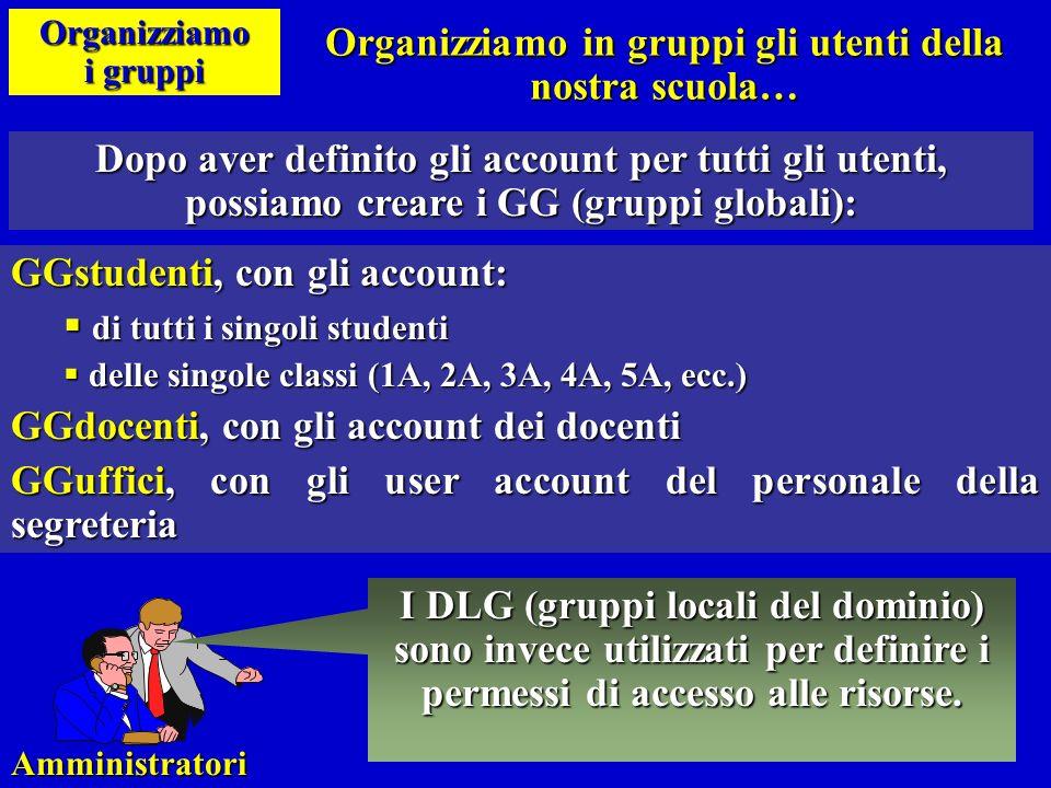 Organizziamo in gruppi gli utenti della nostra scuola…