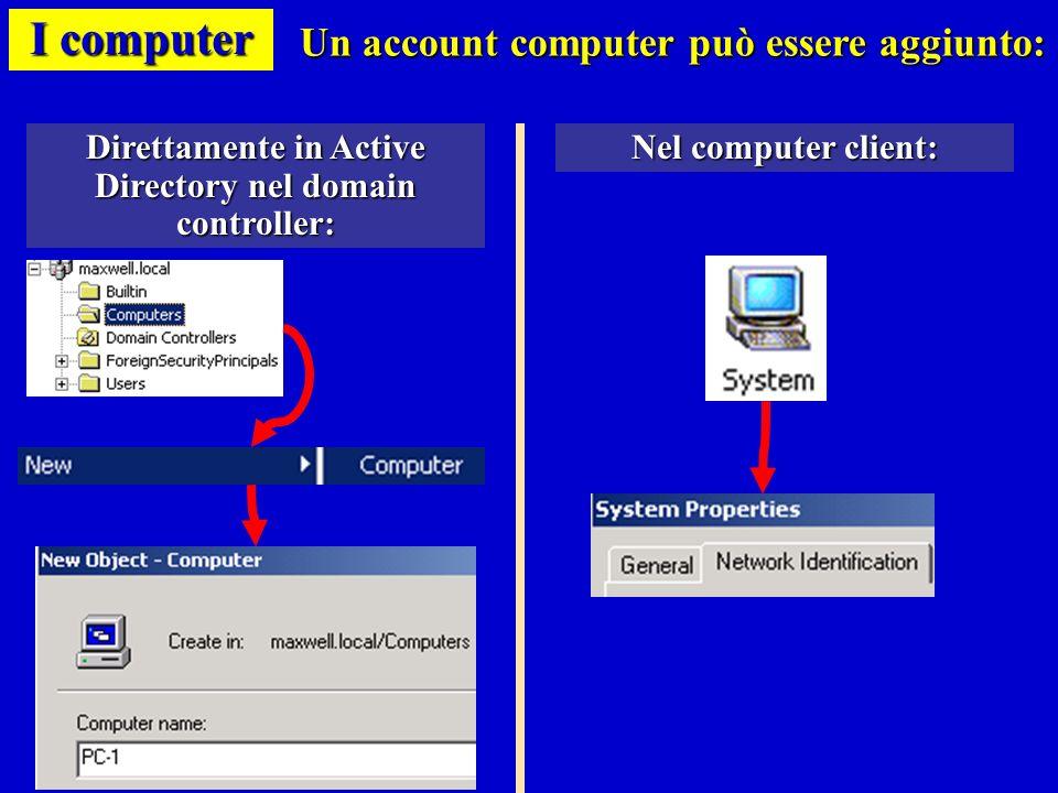 I computer Un account computer può essere aggiunto:
