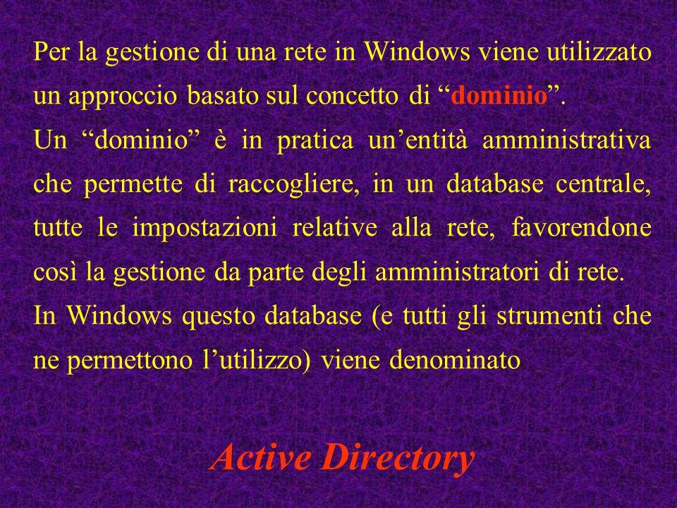 Per la gestione di una rete in Windows viene utilizzato un approccio basato sul concetto di dominio .