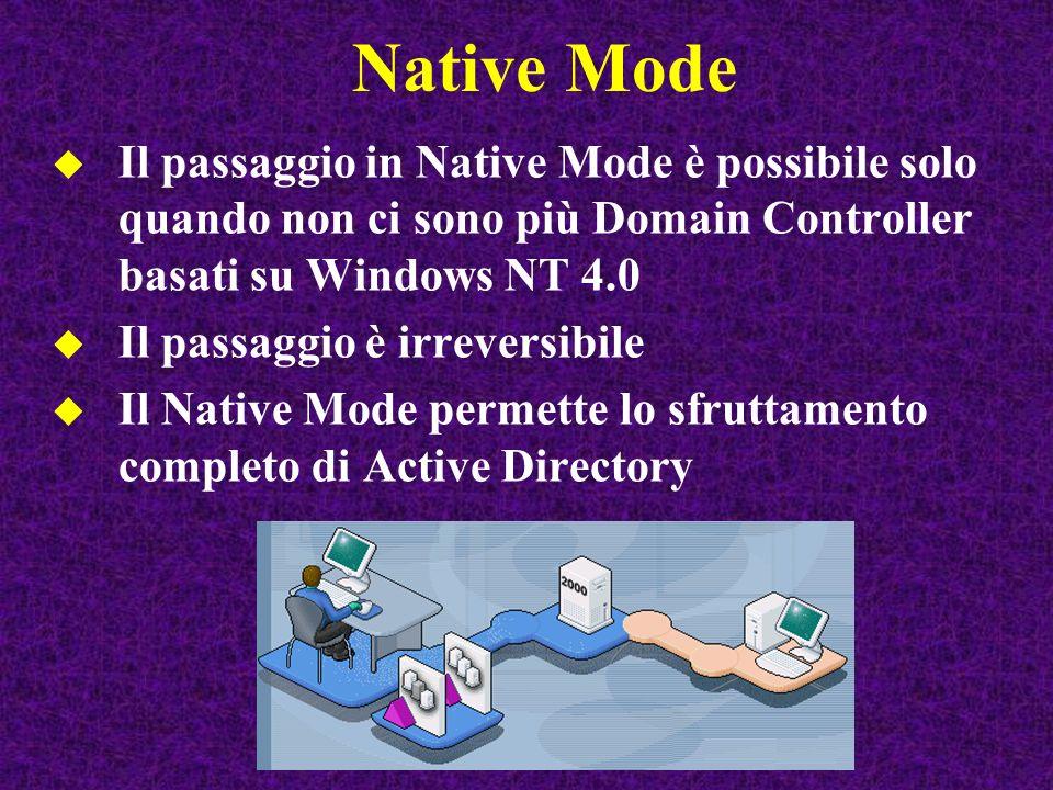 Native Mode Il passaggio in Native Mode è possibile solo quando non ci sono più Domain Controller basati su Windows NT 4.0.