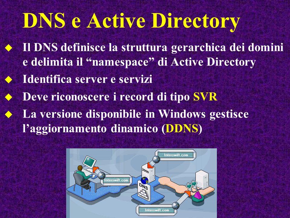 DNS e Active Directory Il DNS definisce la struttura gerarchica dei domini e delimita il namespace di Active Directory.