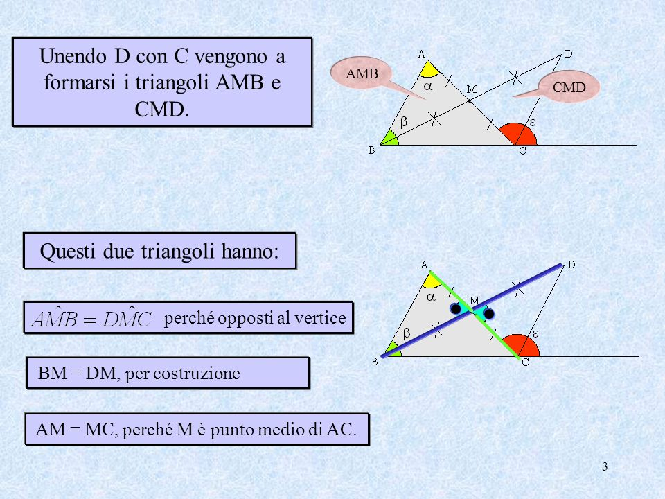 Unendo D con C vengono a formarsi i triangoli AMB e CMD.