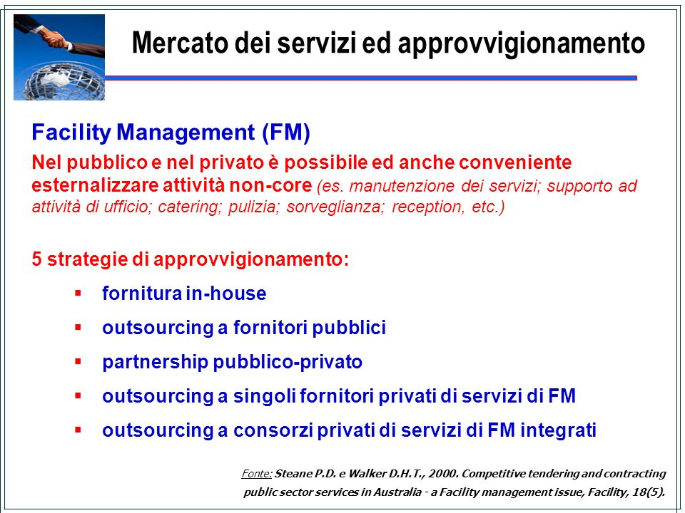 Mercato dei servizi ed approvvigionamento
