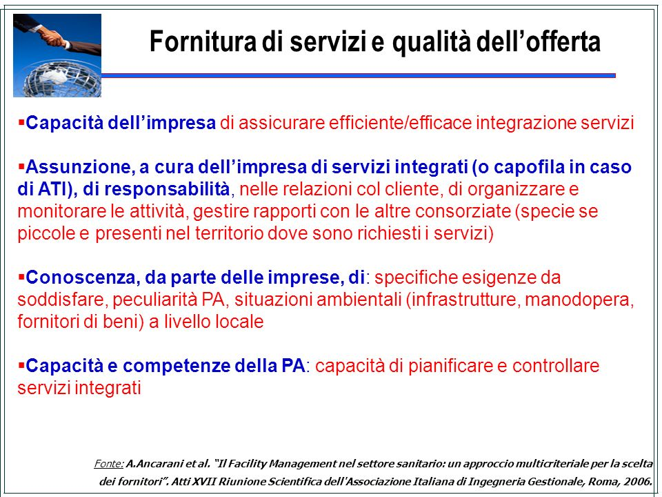 Fornitura di servizi e qualità dell'offerta