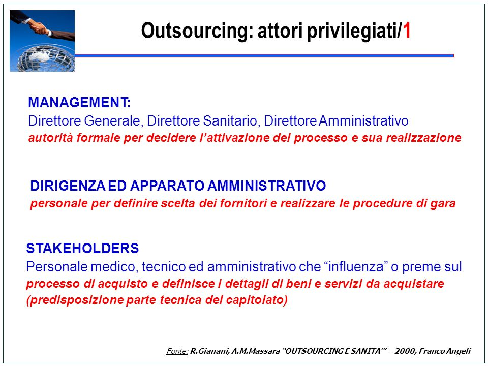 Outsourcing: attori privilegiati/1