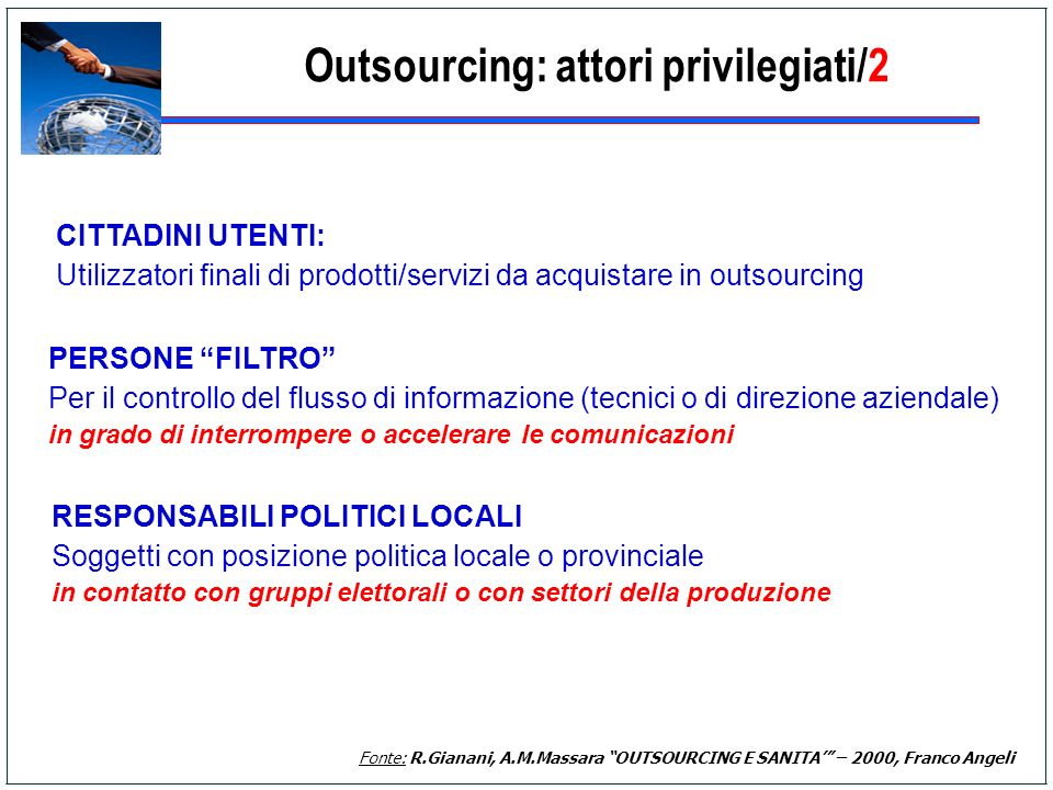 Outsourcing: attori privilegiati/2
