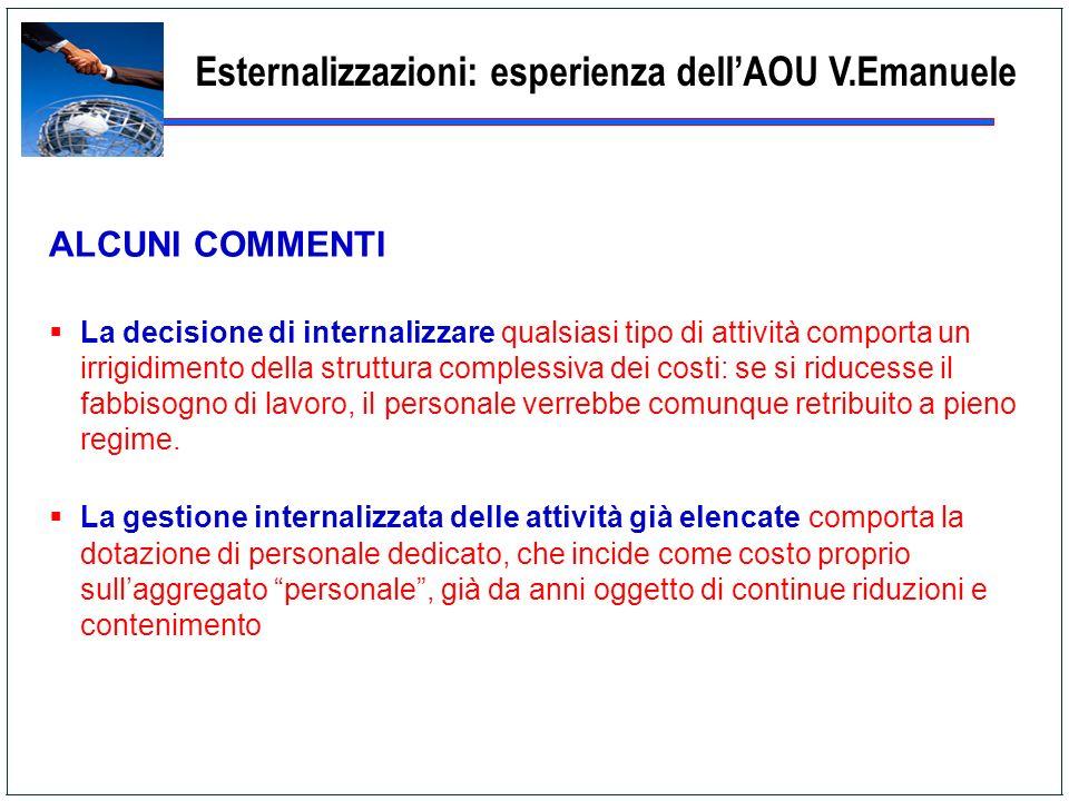 Esternalizzazioni: esperienza dell'AOU V.Emanuele