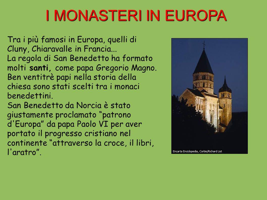 I MONASTERI IN EUROPA Tra i più famosi in Europa, quelli di Cluny, Chiaravalle in Francia...