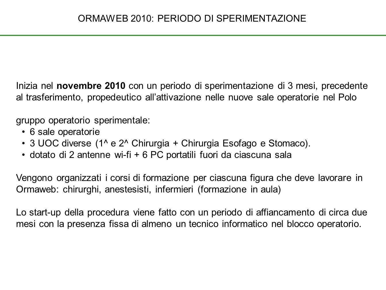 ORMAWEB 2010: PERIODO DI SPERIMENTAZIONE