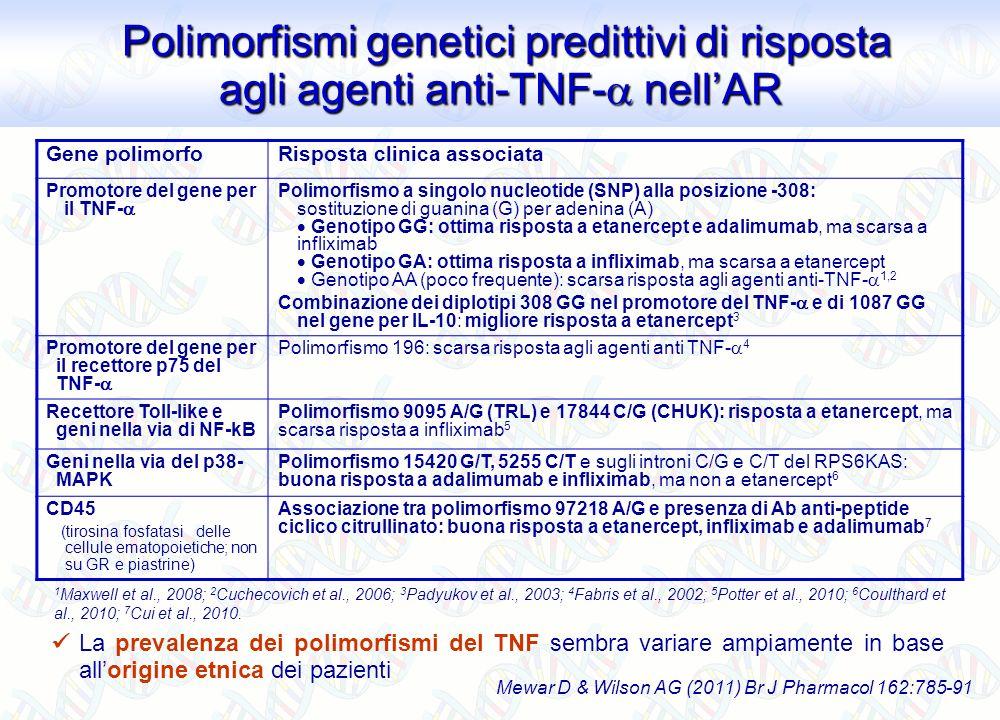 Polimorfismi genetici predittivi di risposta agli agenti anti-TNF- nell'AR