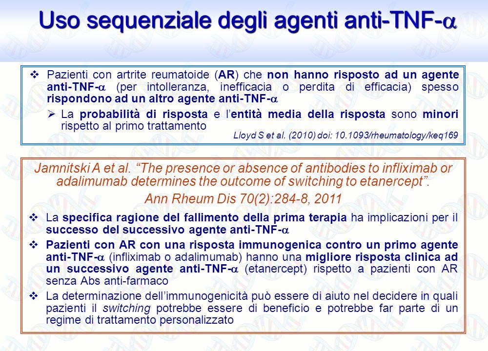Uso sequenziale degli agenti anti-TNF-