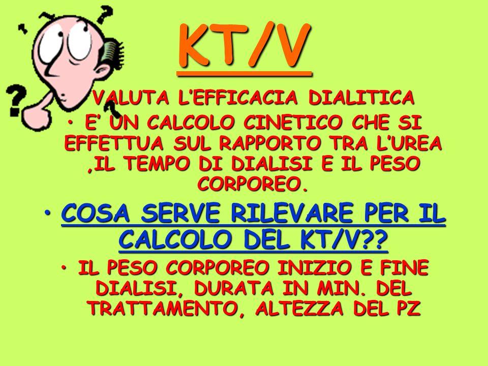 KT/V COSA SERVE RILEVARE PER IL CALCOLO DEL KT/V