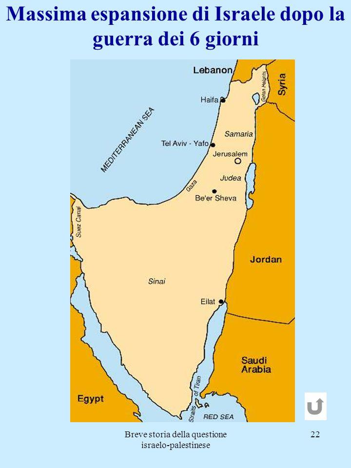 Massima espansione di Israele dopo la guerra dei 6 giorni