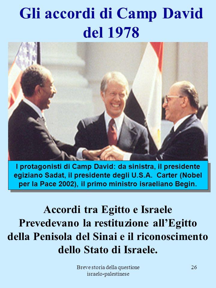 Gli accordi di Camp David del 1978 Accordi tra Egitto e Israele