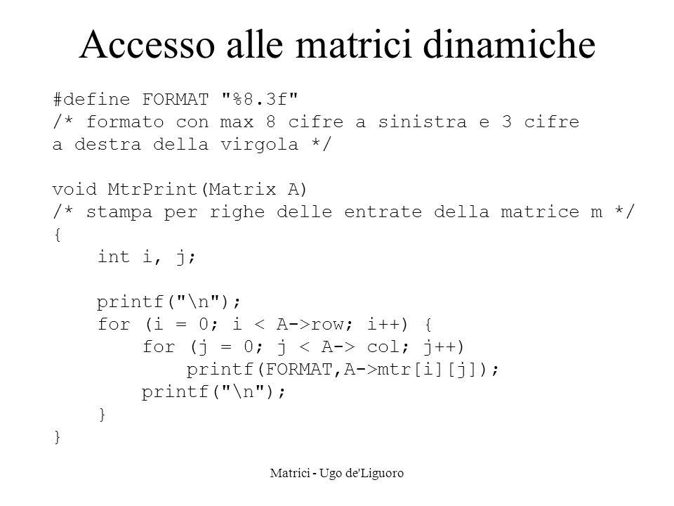 Accesso alle matrici dinamiche