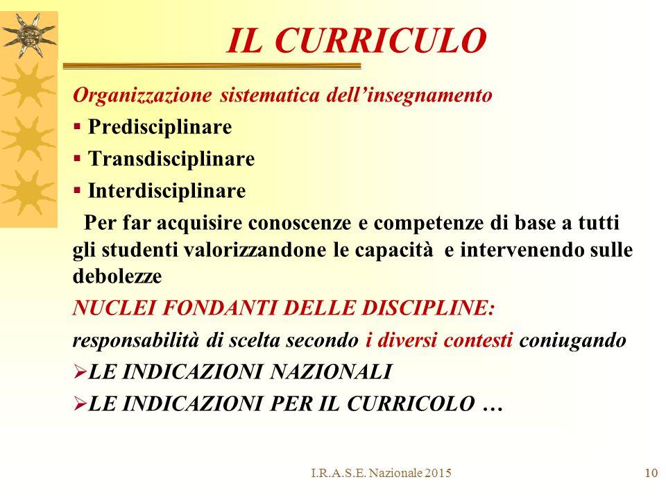 IL CURRICULO Organizzazione sistematica dell'insegnamento