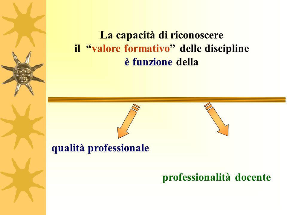 La capacità di riconoscere il valore formativo delle discipline