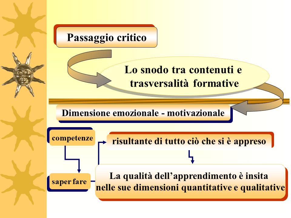Passaggio critico Lo snodo tra contenuti e trasversalità formative