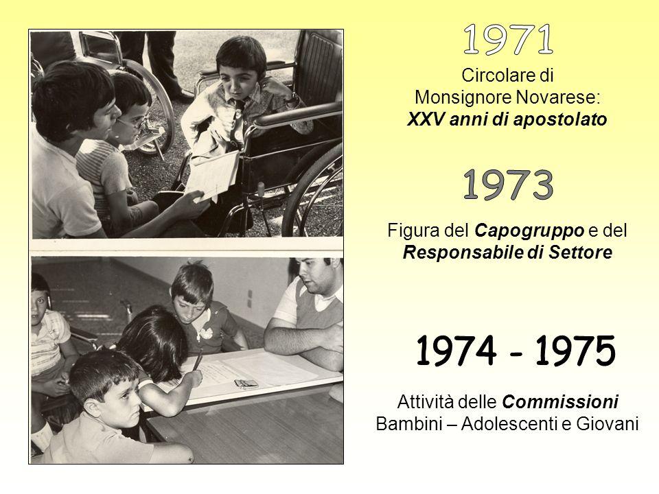 1971 Circolare di Monsignore Novarese: XXV anni di apostolato. 1973. Figura del Capogruppo e del Responsabile di Settore.