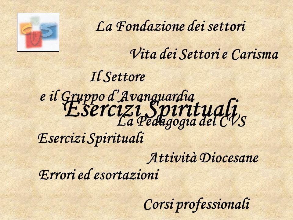 Esercizi Spirituali La Fondazione dei settori
