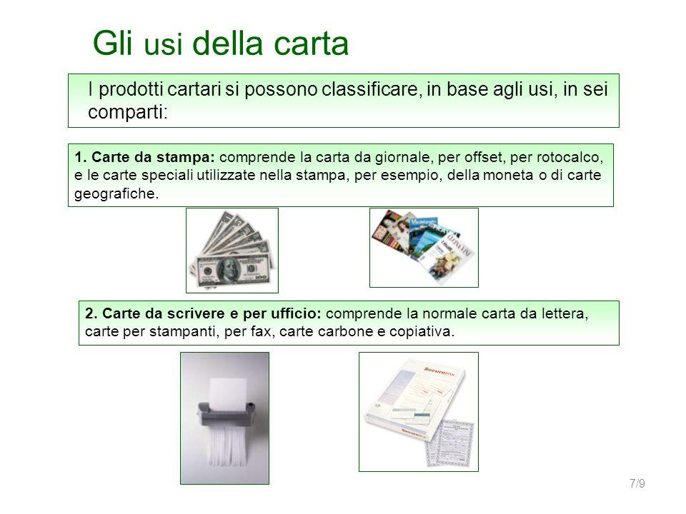Gli usi della carta I prodotti cartari si possono classificare, in base agli usi, in sei comparti:
