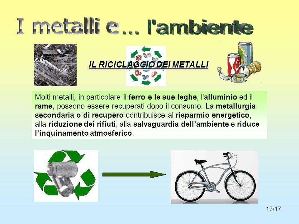 I metalli e ... l ambiente IL RICICLAGGIO DEI METALLI