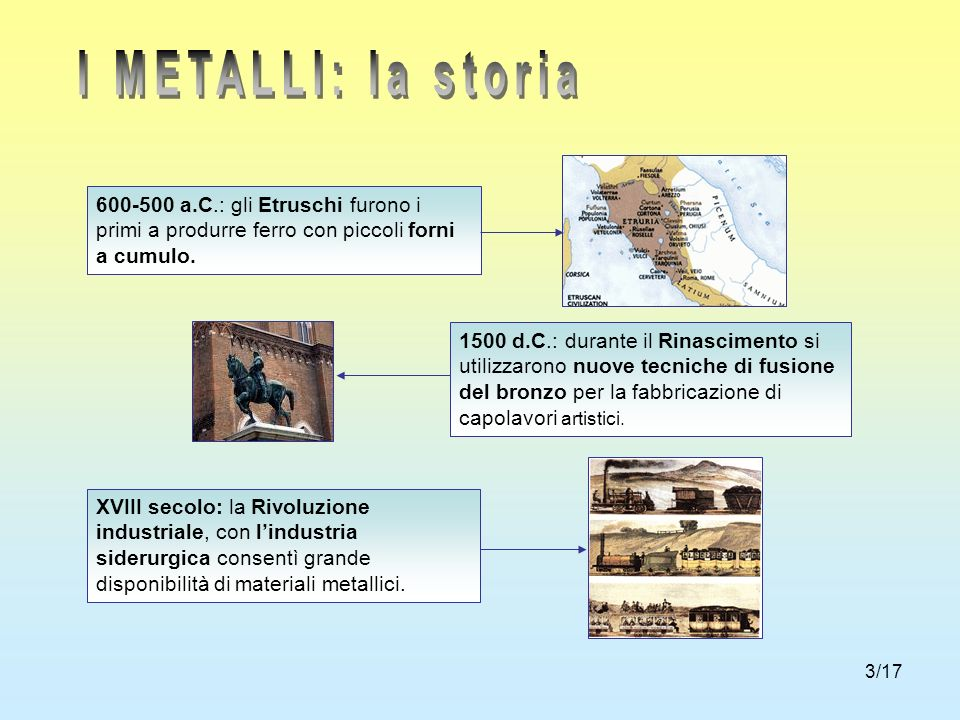 I METALLI: la storia 600-500 a.C.: gli Etruschi furono i primi a produrre ferro con piccoli forni a cumulo.