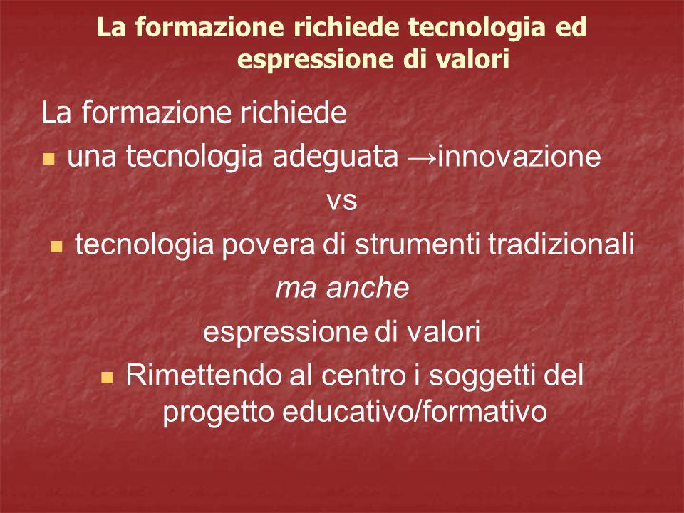 La formazione richiede tecnologia ed espressione di valori