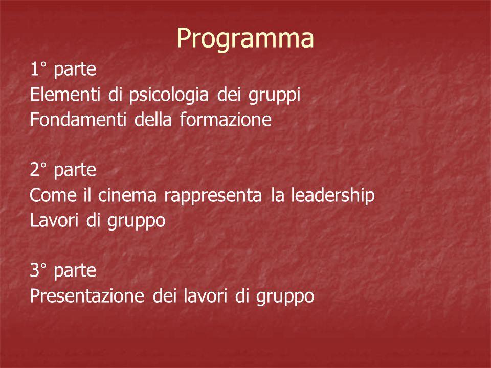 Programma 1° parte Elementi di psicologia dei gruppi