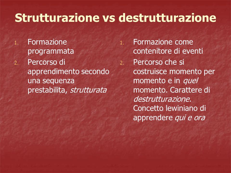 Strutturazione vs destrutturazione
