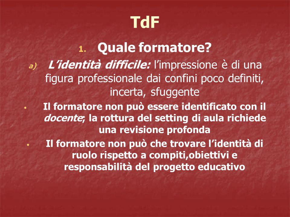 TdF Quale formatore L'identità difficile: l'impressione è di una figura professionale dai confini poco definiti, incerta, sfuggente.