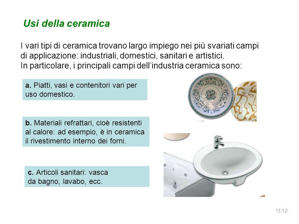 Usi della ceramica I vari tipi di ceramica trovano largo impiego nei più svariati campi.
