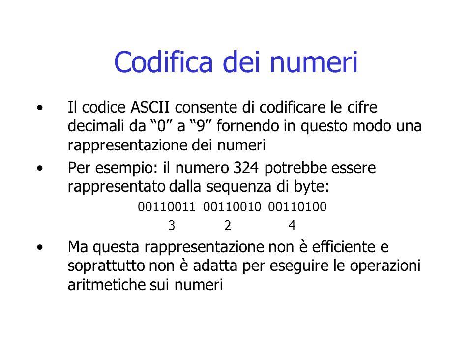 Codifica dei numeri Il codice ASCII consente di codificare le cifre decimali da 0 a 9 fornendo in questo modo una rappresentazione dei numeri.