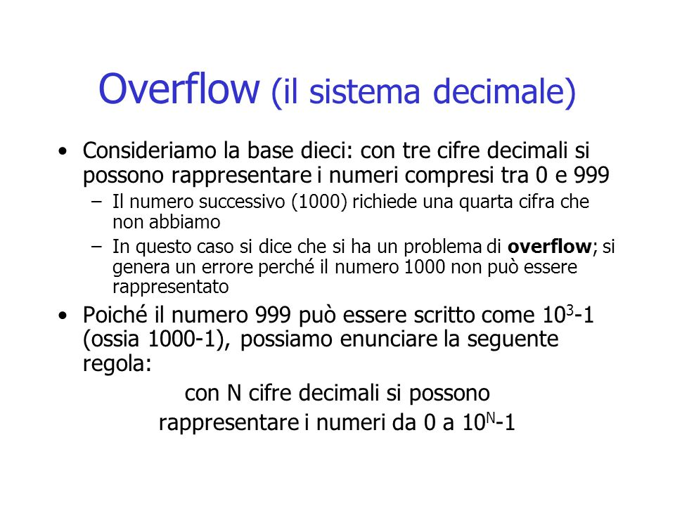 Overflow (il sistema decimale)