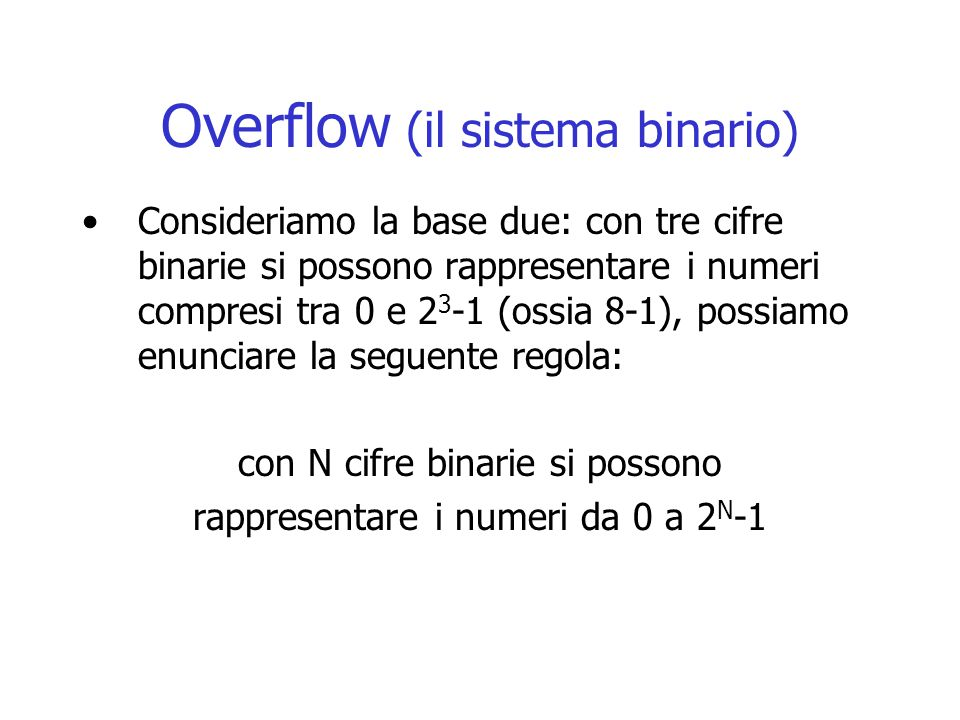 Sistema binario numeri con virgola