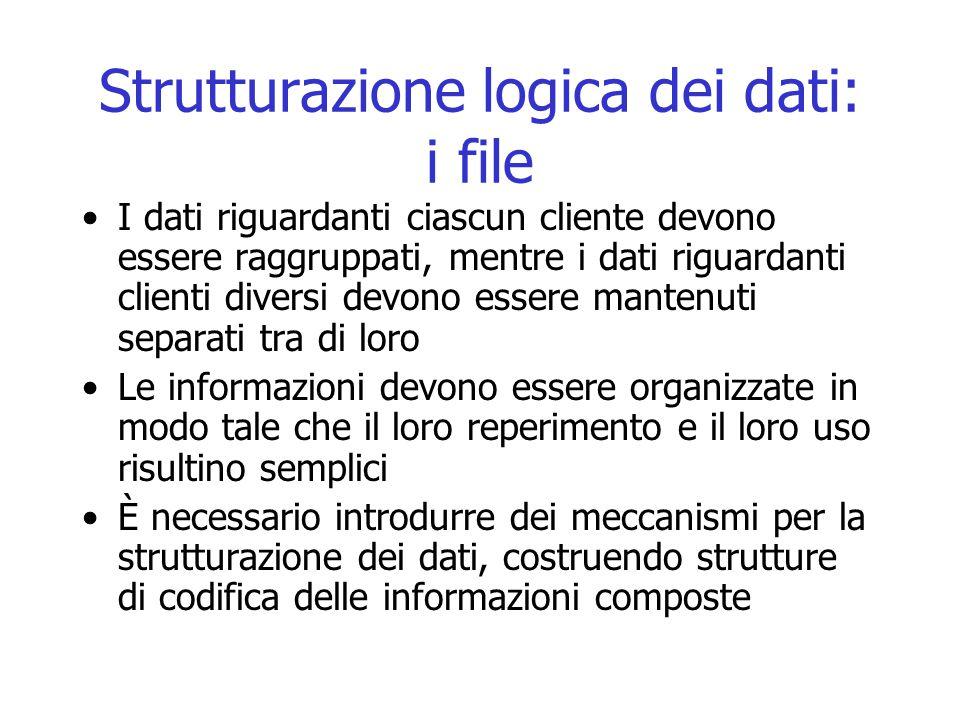Strutturazione logica dei dati: i file