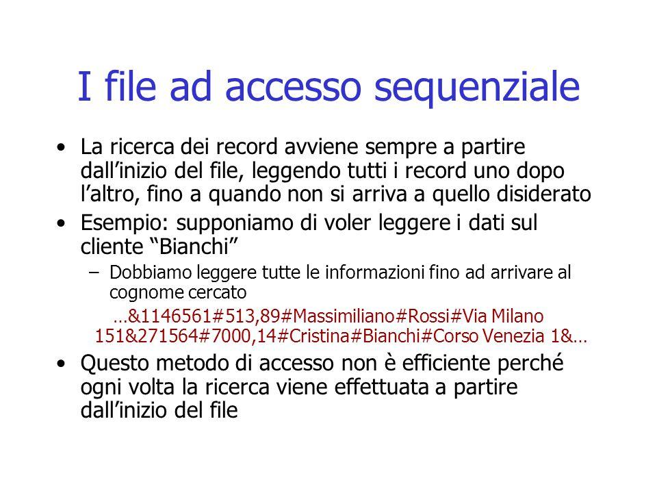 I file ad accesso sequenziale