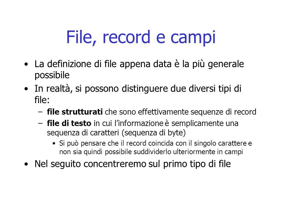 File, record e campi La definizione di file appena data è la più generale possibile. In realtà, si possono distinguere due diversi tipi di file: