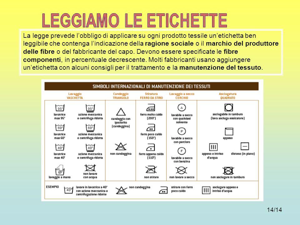 LEGGIAMO LE ETICHETTE