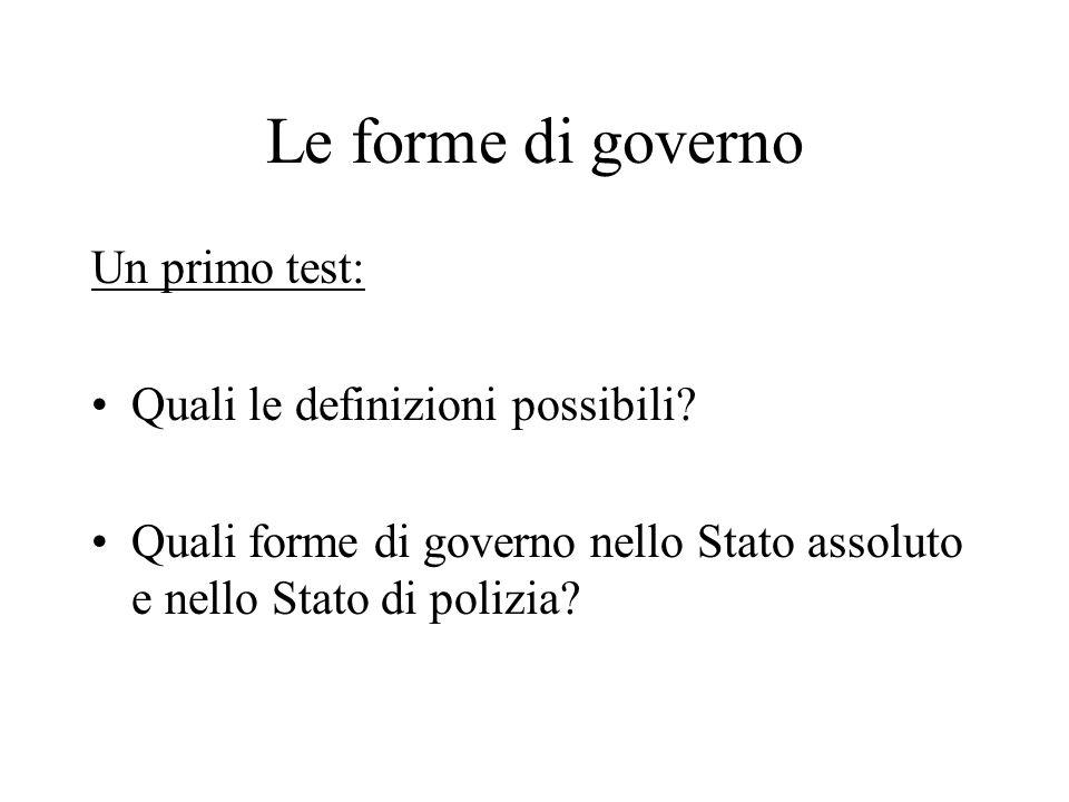 Le forme di governo Un primo test: Quali le definizioni possibili