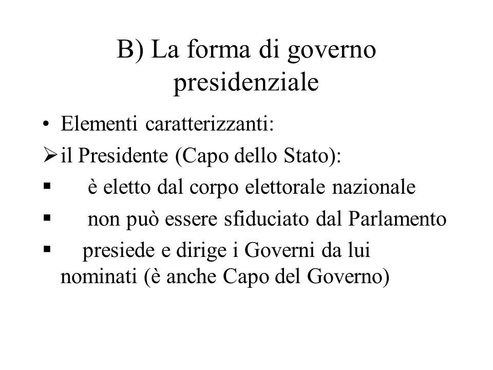 B) La forma di governo presidenziale