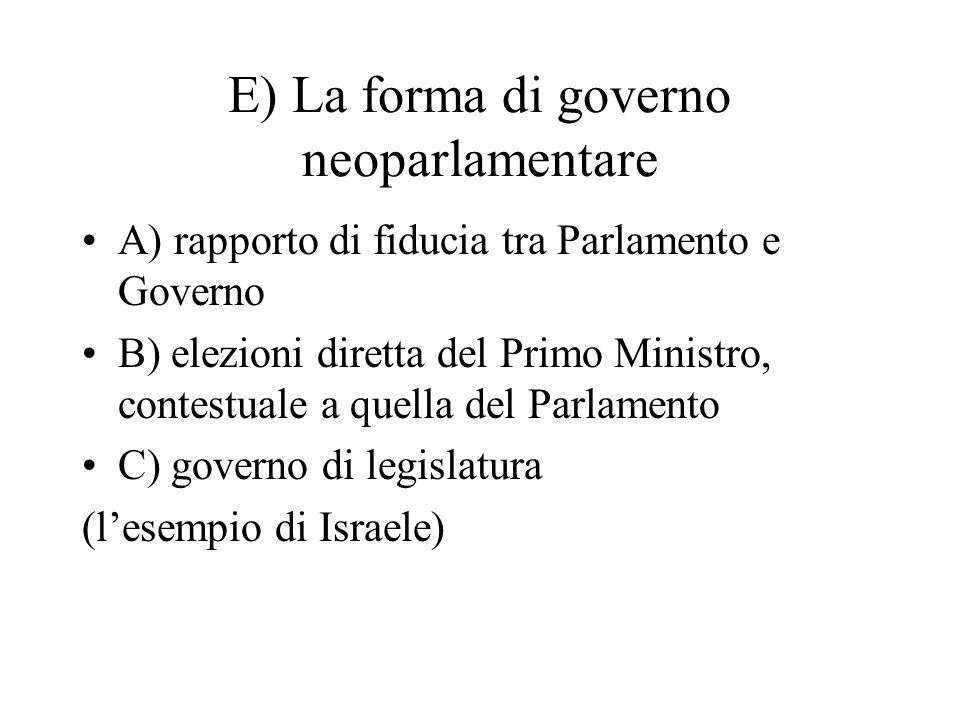 E) La forma di governo neoparlamentare