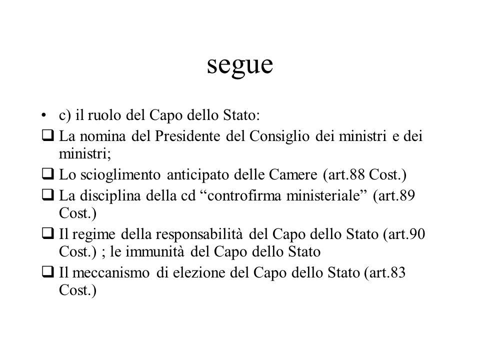 segue c) il ruolo del Capo dello Stato: