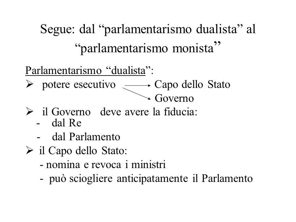 Segue: dal parlamentarismo dualista al parlamentarismo monista
