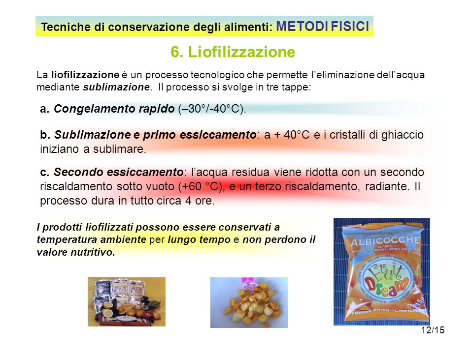 Tecniche di conservazione degli alimenti: METODI FISICI
