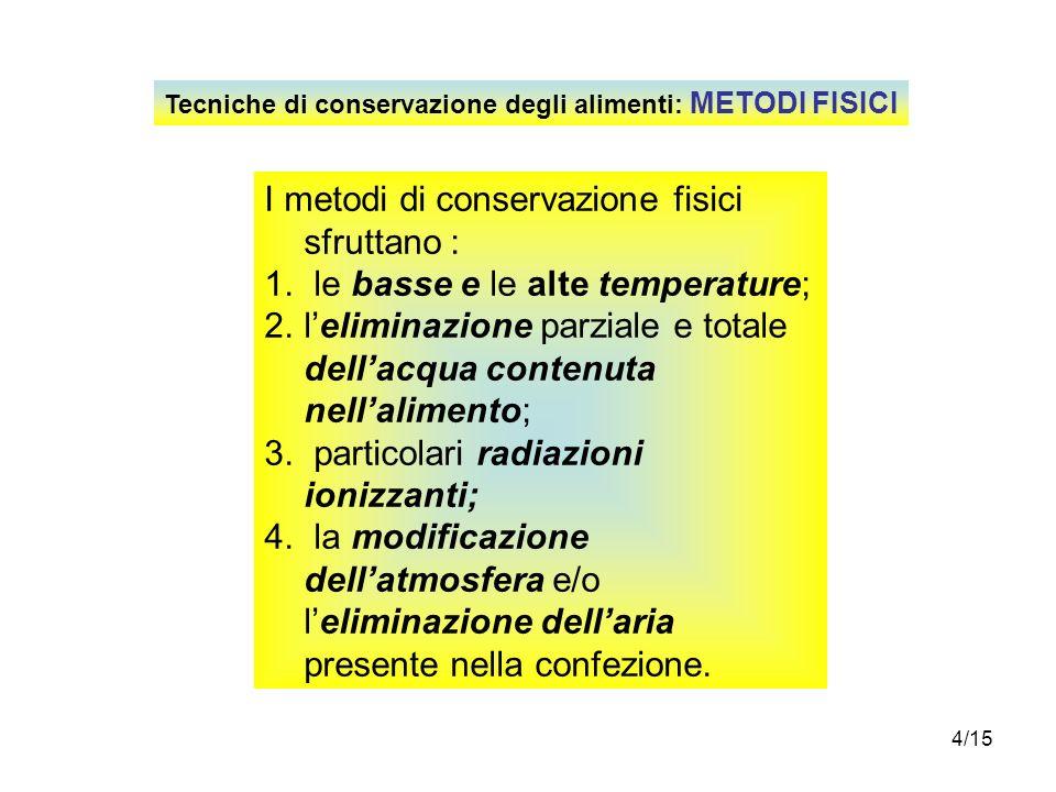 I metodi di conservazione fisici sfruttano :