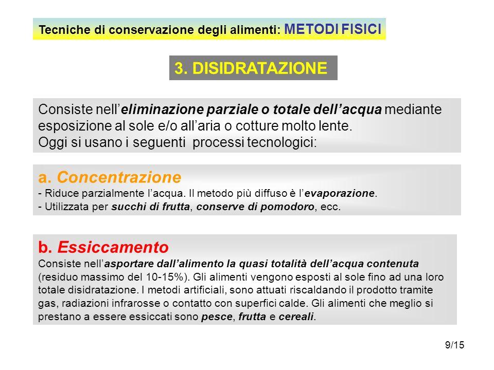 3. DISIDRATAZIONE a. Concentrazione b. Essiccamento