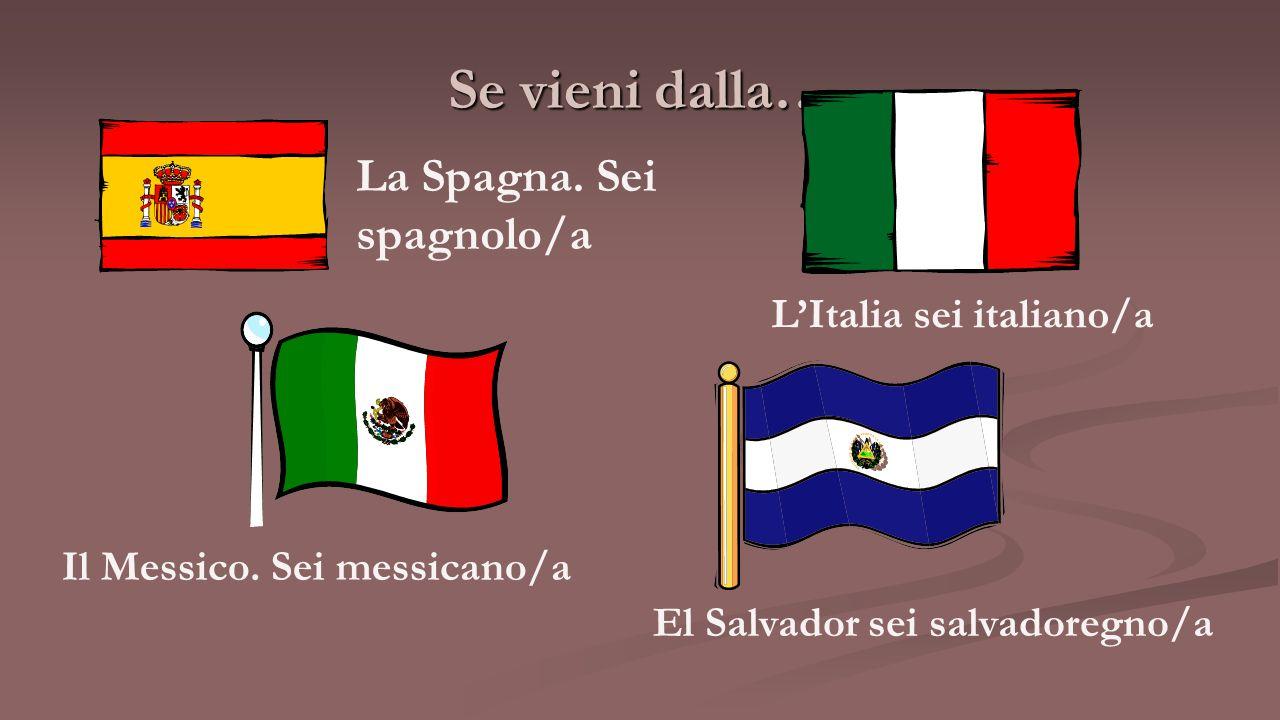 Se vieni dalla… La Spagna. Sei spagnolo/a L'Italia sei italiano/a