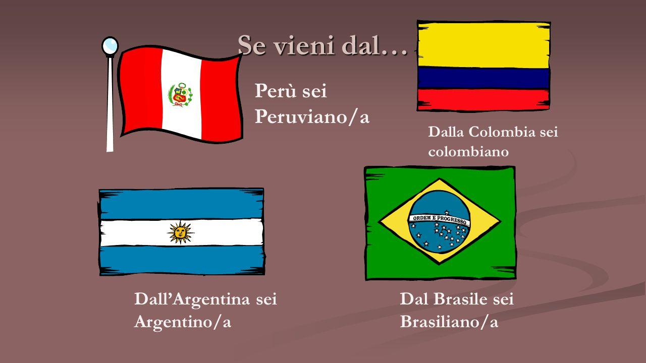 Se vieni dal… Perù sei Peruviano/a Dall'Argentina sei Argentino/a