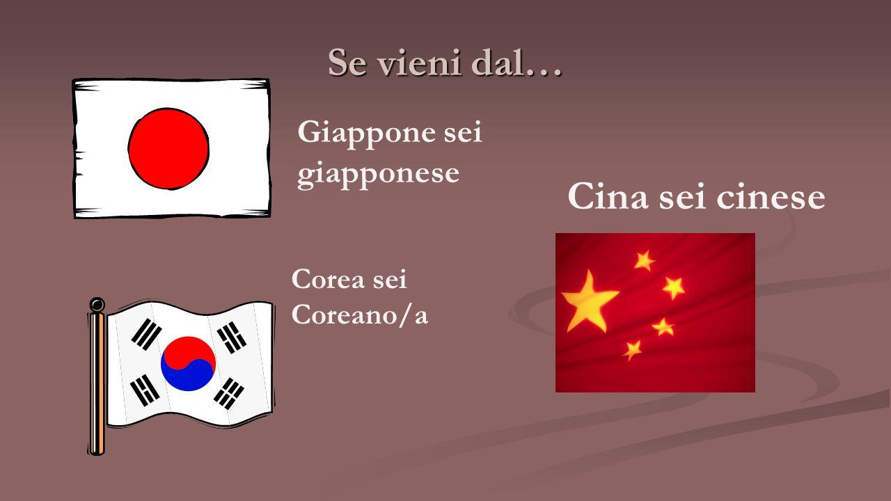 Se vieni dal… Cina sei cinese Giappone sei giapponese Corea sei